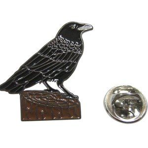 Colored Perched Crow Raven Bird Lapel Pin